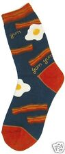 Foot Traffic Bacon And Eggs Red Navy Blue Womans Crew Socks New