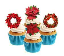 Poinsettia colecta de Navidad 12 Comestibles Stand Up Oblea papel Cake Toppers