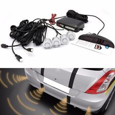 Car Rear LED Display Reverse Parking Rador Sensor 4 Buzzer Alarm Kit Silver inUK