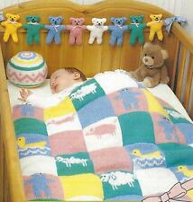 Baby Blanket Knitting Pattern DK  Ball & Teddy Bear 336