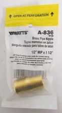 "Watts A-836 Brass Pipe Nipple ½"" x 1-½"