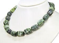 Schöne Kette aus   Serpentin - Silberauge in abgerundeter Rechteckform L-46 cm