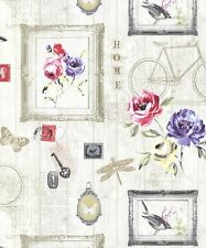 Wallpaper Rasch - Portfolio Wood Cladding Butterfly Floral Frame Photo - 205701