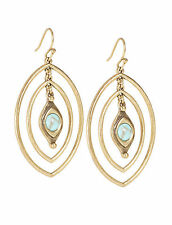 NEW LUCKY BRAND ANTIQUE GOLD+TURQUOISE ACCENT,DOUBLE OVAL HOOP EARRING JLRY5518