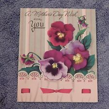 Vintage Mother's Day Card, American Greeting, 15M P-550-7, From 1954, Pansies