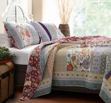GENEVA ** King ** QUILT SET : BOHO RED BLUE FLORAL COTTAGE GREENLAND BEDDING