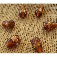 10 HANDMADE INDIAN LAMPWORK GLASS BEADS ~ 20mm Amber Drops ~ 17