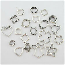40Pcs Mixed Antiqued Silver Bead Frame Charms Jewelry Making Craft DIY F176