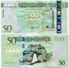 LIBYA 50 DINARS 2016 P NEW DESIGN Russian printed, Horizontal serial numbers UNC