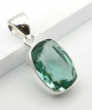 """FACETED GREEN APATITE 925 STERLING SILVER DROP NECKLACE PENDANT SIZE 1 1/4"""""""