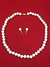 "NEW! White Akoya Shell White Pearl Necklace + Earring Set - 18"" - 8MM - Gold Ptd"