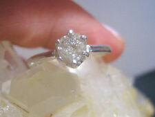 0.653CT NATURAL WHITE ROUGH RAW UNCUT DIAMOND .925 SILVER ENGAGEMENT RING NR $94