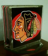 Lighted Chicago Blackhawks Glass Block Light~ Home Decor~Gift~Lamp