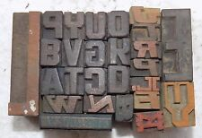 """Letterpress Letter Wood Type Printers Block """"Lot Of 26"""" Typography #bc-786"""