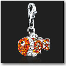 925 Sterling Silver Clip on Charm Finding Nemo Swarovski Crystal 3D Charms Fish
