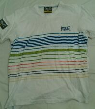 Men's Everlast T-Shirt white with Coloured Stripes Size S Excellent Condition