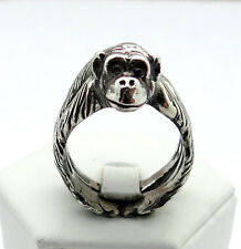 Antique Silver Plt Chimpanzee Chimp Ring  / Thumb Ring Adjustable Men Ladies