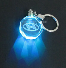 Car Logo LED night Light color changing crystal Key Chain Keychain For Hyundai