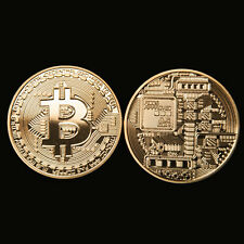 1pc Lingots d'or BTC pièce Art Collection Gold Plated Bitcoin pièce