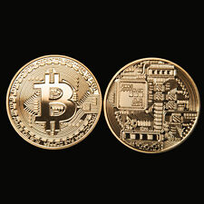 Gold Plated Bitcoin Coin - art collectible -In Stock BTC Coin