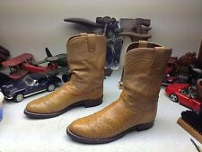 CUSTOM JUSTIN VINTAGE USA BUTTERSCOTCH AMBER OSTRICH LEATHER TRAIL BOSS BOOTS 9D