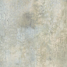 Blue Green Cream Beige Faux Crackle Wallpaper  KB20225 DOUBLE ROLL FREE SHIPPING
