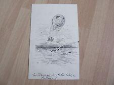 DESSIN à la plume ballon dirigeable aerostat Alphonse LEVY 19ème siècle