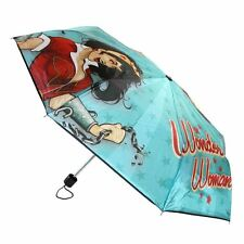 Official DC Comics Wonder Woman Character Teal Umbrella with Slip Cover - New