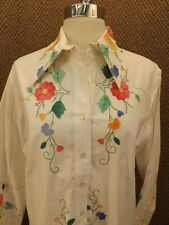 Vtg 60s NOS NEW Hand Embroidered Colorful Floral 100% Cotton Western Shirt Sz 16
