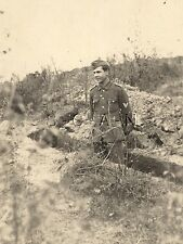 WWII German Army Large RPPC- Soldier- NCO- Uniform- Overseas Hat- Trench- 1942