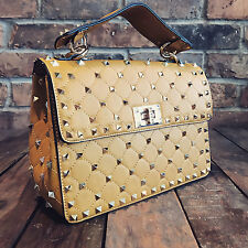 Womens Mustard Studded Moda Tote Handbag Faux Leather & Free River Island Gift