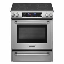 KitchenAid 30-Inch Electric Slide-In Range KESS907XSP & KMHC319ESS OTR Microwave