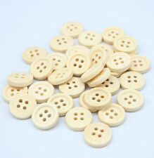 80PC Natural Color Wooden Sewing Buttons Round Concave Pattern Scrapbooking 15MM