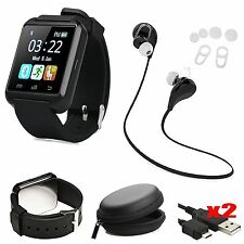 Bluetooth Smart Wrist Watch Phone Mate Earphones For IOS Android iPhone Samsung