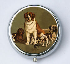 Dogs pillbox PILL case pill box holder St. Bernard boxer pug