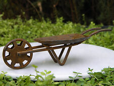 Miniature Dollhouse FAIRY GARDEN Furniture ~ Rusty Tin Wheelbarrow ~ NEW