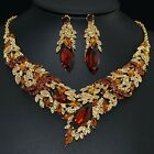 YT266 Brown Rhinestone Crystal Earrings Necklace Set Bridal Party Gift