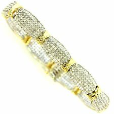 5 CT DIAMOND TENNIS BRACELET WHITE & YELLOW GOLD NATURAL ROUND & BAGUETTE CUT