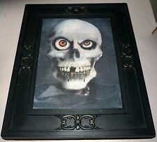 """RARE GEMMY PIRATE SKULL TALKING ANIMATED 3-D HALLOWEEN 15"""" X 12"""" PICTURE FRAME"""