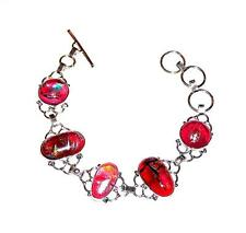"""BRACELET Toggle Silverplate & Mixed Colors 7"""" Adj.DICHROIC GLASS LINKS"""