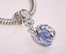 Caged Blue Crystal March Birthstone Dangle Bead fits European Charm Bracelets