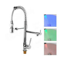 Pull out Kitchen Sink Faucet Single Handle Mixer Tap With Led Light Chorme