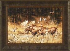 OCTOBER RENDEZVOUS by Larry Fanning 17x23 FRAMED PRINT Moose Ducks Wildlife