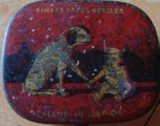Old vintage Tin Baby & Dog Gramophone Needle Box from Japan 1930
