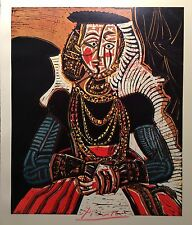 PABLO PICASSO HAND SIGNED BUST OF A WOMAN AFTER CRANACH THE YOUNGER PRINT & COA