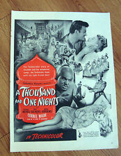 1945 Movie Ad A 1001 Thousand & One Nights Evelyn Keyes Cornel Wilde