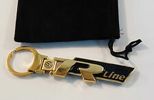 24ct GOLD PLATED VW R-LINE KEYRING 24K GOLF SCIROCCO TOUAREG TIGUAN PASSAT POLO