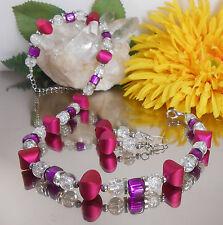 2er SET Collier / Würfelkette /  CRACKLE GLAS Perlen klar + Würfel MAGENTA