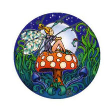 Mandala Arts Fairy Sitting on Mushroom 2 Side High Quality Circle Window Sticker