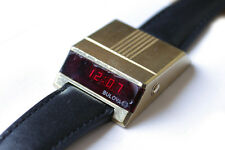 Vintage Rare Bulova Computron LED Electronic 70s Driver's Watch Gold Plated